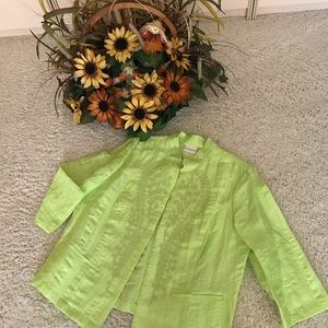 NWOT.  Chico's bright green jacket.  XL. (Size 3)
